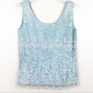 Vintage women's beaded sequin tank top size large